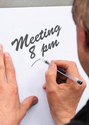 Meeting at 8pm