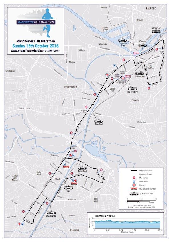 Manchester Half Marathon 2016 - Route